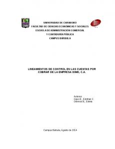 LINEAMIENTOS DE CONTROL EN LAS CUENTAS POR COBRAR DE LA EMPRESA DIMO, C.A