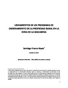 LINEAMIENTOS DE UN PROGRAMA DE ORDENAMIENTO DE LA PROPIEDAD RURAL EN LA ZONA DE LA MACARENA