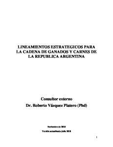 LINEAMIENTOS ESTRATEGICOS PARA LA CADENA DE GANADOS Y CARNES DE LA REPUBLICA ARGENTINA