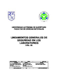 LINEAMIENTOS GENERALES DE SEGURIDAD EN LOS LABORATORIOS LPSL- 08-