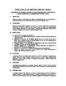 LINEAMIENTOS GENERALES PARA EL USO, SUPERVISION Y CONTROL DE LAS BITACORAS EN EL GOBIERNO REGIONAL PIURA