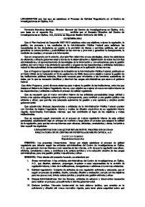 LINEAMIENTOS por los que se establece el Proceso de Calidad Regulatoria en el Centro de Investigaciones en Óptica, A.C