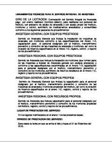 LINEAMIENTOS TECNICOS PARA EL SERVICIO INTEGRAL DE ANESTESIA