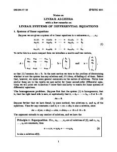 LINEAR ALGEBRA LINEAR SYSTEMS OF DIFFERENTIAL EQUATIONS