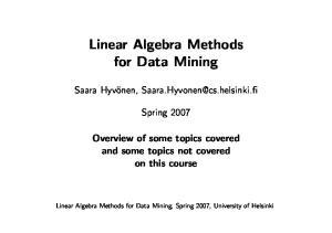 Linear Algebra Methods for Data Mining