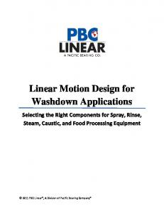 Linear Motion Design for Washdown Applications Selecting the Right Components for Spray, Rinse, Steam, Caustic, and Food Processing Equipment