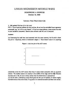 LINEAR REGRESSION MODELS W4315