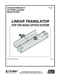 LINEAR TRANSLATOR FOR THE BASIC OPTICS SYSTEM