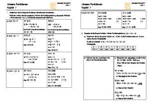 Lineare Funktionen Kapitel 7. Lineare Funktionen Kapitel 7 ( ) ( 2) ( 5) P und P auf dem Graphen der Funktion
