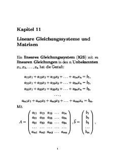 Lineare Gleichungssysteme und Matrizen