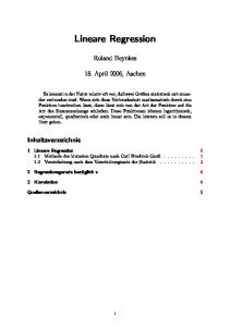 Lineare Regression. Roland Heynkes. 18. April 2006, Aachen