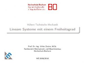 Lineare Systeme mit einem Freiheitsgrad