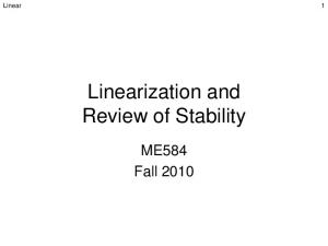 Linearization and Review of Stability