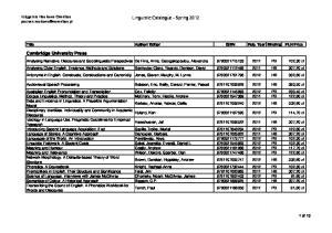 Linguistic Catalogue - Spring 2012