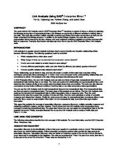 Link Analysis Using SAS Enterprise Miner