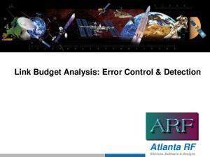 Link Budget Analysis: Error Control & Detection. Atlanta RF Services, Software & Designs
