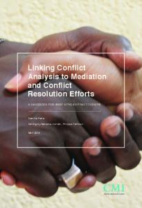 Linking Conflict Analysis to Mediation and Conflict Resolution Efforts