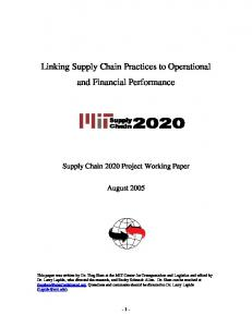 Linking Supply Chain Practices to Operational and Financial Performance