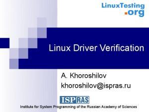 Linux Driver Verification