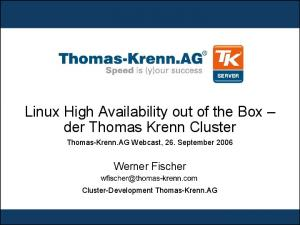 Linux High Availability out of the Box der Thomas Krenn Cluster