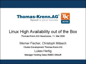 Linux High Availability out of the Box