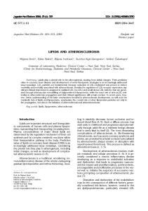 LIPIDS AND ATHEROSCLEROSIS