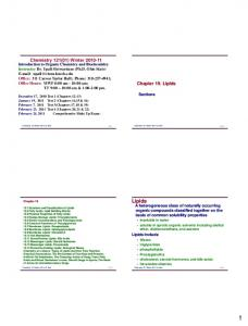 Lipids. Chemistry 121(01) Winter Chapter 19. Lipids