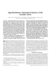 Lipochoristomas (Lipomatous Tumors) of the Acoustic Nerve