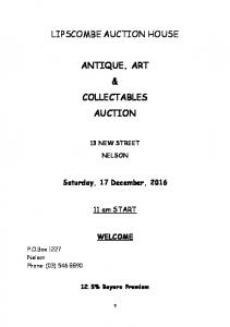 LIPSCOMBE AUCTION HOUSE ANTIQUE, ART & COLLECTABLES AUCTION