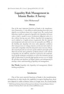 Liquidity Risk Management in Islamic Banks: A Survey