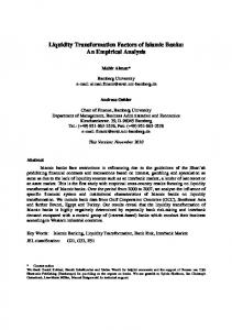 Liquidity Transformation Factors of Islamic Banks: An Empirical Analysis