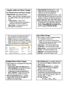 Liquids, Solids and Phase Changes