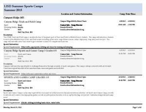 LISD Summer Sports Camps Summer 2015