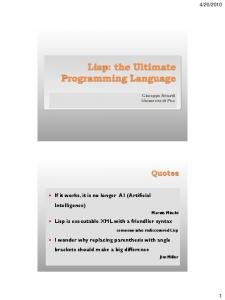 Lisp: the Ultimate Programming Language