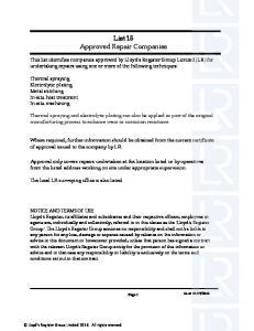 List 15 Approved Repair Companies