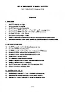 LIST OF AMENDMENTS TO MANUAL ON CODES