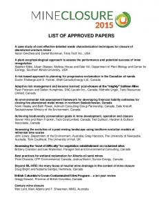 LIST OF APPROVED PAPERS