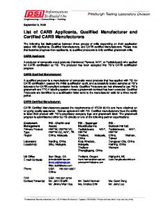 List of CARB Applicants, Qualified Manufacturer and Certified CARB Manufacturers