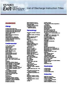 List of Discharge Instruction Titles