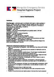 List of disinfectants