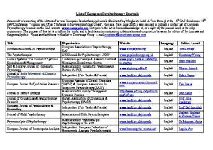 List of European Psychotherapy Journals