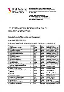 LIST OF EXCHANGE COURSES TAUGHT IN ENGLISH ACADEMIC YEAR