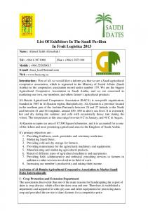 List Of Exhibitors In The Saudi Pavilion In Fruit Logistica 2013