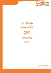 List of foods available for CAT. for allergy tests