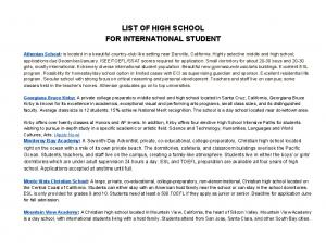 LIST OF HIGH SCHOOL FOR INTERNATIONAL STUDENT