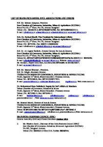 LIST OF IRANIANCHAMBER, EPCI, ASSOCIATIONS AND UNIONS