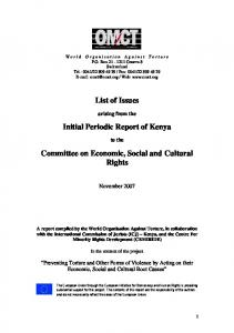 List of Issues. Initial Periodic Report of Kenya. Committee on Economic, Social and Cultural Rights