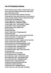 List of Participating Institutes