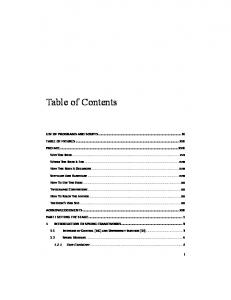 LIST OF PROGRAMS AND SCRIPTS... IX TABLE OF FIGURES... XIII PREFACE... XVII