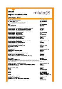 List of registered exhibitors